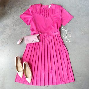 Vintage Blair Boutique Pink Pleated Midi Dress